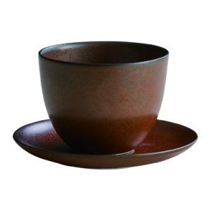 KINTO PEBBLE CUP AND SAUCER BROWN