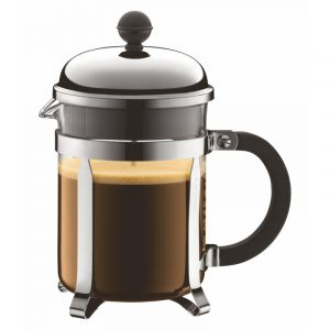 BODUM CHAMBORD COFFEE MAKER 4 CUP 0.5L/17OZ - GLASS, MIRROR FINISH S/S LID