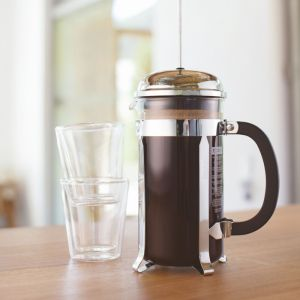 BODUM CHAMBORD COFFEE MAKER 8 CUP 1.0L/34OZ - GLASS, MIRROR FINISH S/S LID