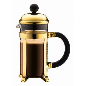 BODUM CHAMBORD COFFEE MAKER 3 CUP 0.35L/12OZ - GLASS, GOLD PLATED S/S LID
