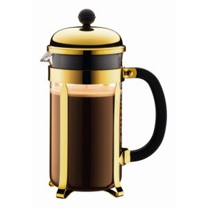 BODUM CHAMBORD COFFEE MAKER 8 CUP 1.0L/34OZ - GLASS, GOLD PLATED S/S LID