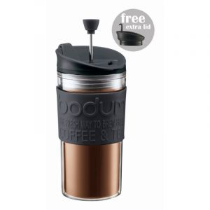 BODUM TRAVEL PRESS SET COFFEE MAKER WITH EXTRA LID, 0.35 L, 12 OZ - BLACK