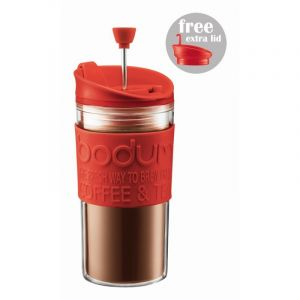 BODUM TRAVEL PRESS SET COFFEE MAKER WITH EXTRA LID, 0.35 L, 12 OZ - RED