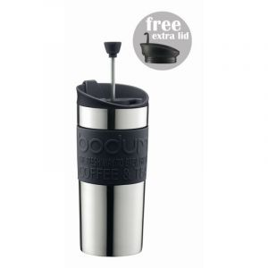 BODUM TRAVEL PRESS COFFEE MAKER INC NON-PRESS LID, 0.35L, 12OZ - SILVER S/S