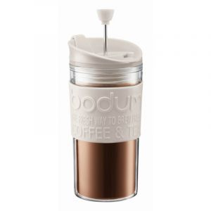 BODUM TRAVEL PRESS SET COFFEE MAKER, 0.35 L, 12 OZ - OFF WHITE