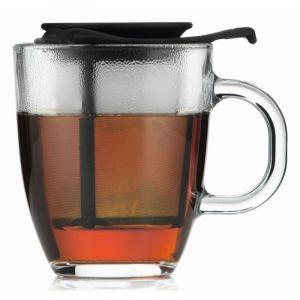 BODUM YO-YO SET MUG AND TEA STRAINER, 0.35 L, 12 OZ - BLACK