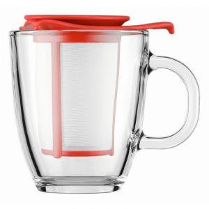 BODUM YO-YO SET MUG AND TEA STRAINER, 0.35 L, 12 OZ - RED