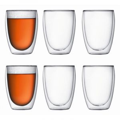 BODUM PAVINA 6 PCS GLASS, DOUBLE WALL, MEDIUM, 0.35 L, 12 OZ - TRANSPARENT