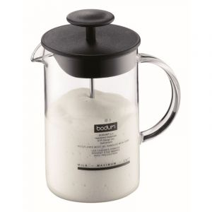 BODUM LATTE MILK FROTHER WITH GLASS HANDLE, 0.25L, 8OZ - BLACK