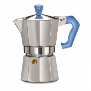 PEZZETTI ITALEXPRESS ALUMINIUM MOKA POT - 3 CUP TEAL BLUE POLYCARBONATE HANDLE