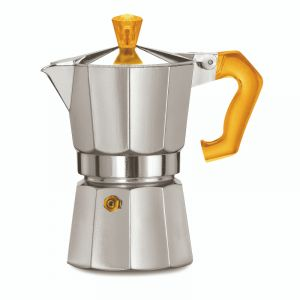 PEZZETTI ITALEXPRESS ALUMINIUM MOKA POT - 3 CUP ORANGE POLYCARBONATE HANDLE