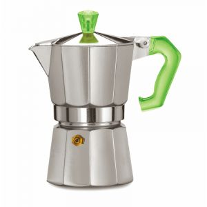 PEZZETTI ITALEXPRESS ALUMINIUM MOKA POT - 3 CUP GREEN POLYCARBONATE HANDLE