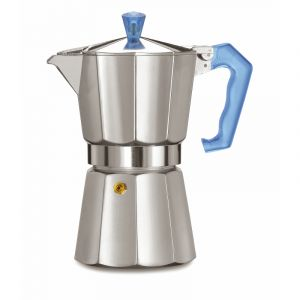 PEZZETTI ITALEXPRESS ALUMINIUM MOKA POT - 6 CUP TEAL BLUE POLYCARBONATE HANDLE