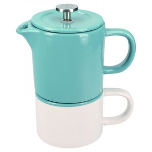 LA CAFETIÈRE BARCELONA RETRO BLUE CERAMIC 400ML COFFEE FOR ONE, GIFT BOXED