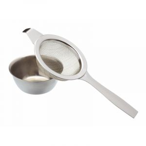 LE'XPRESS STAINLESS STEEL LONG HANDLED TEA STRAINER AND BOWL