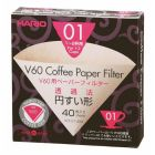 HARIO V60 PAPER FILTER 01 DRIPPER 40 SHEETS - UNBLEACHED